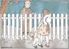 Boy and girl talking over fence