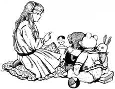 Girl talking to her dolls