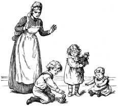 Nanny and children with frog