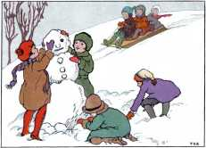 Children building a snowman