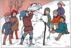 Children making a dishpan hat for the snowman