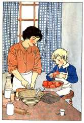 Son helping mother to peel apples