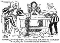 Petruchio, pretending to find fault with every dish, threw the meat about on the floor, and ordered the servants to remove it.