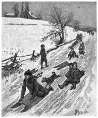 Children sledding on a country road