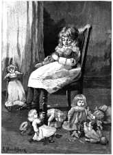 Girl mothering dolls