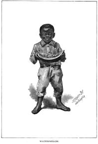 Black child with watermelon
