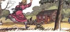 Girl running toward one room schoolhouse.