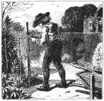 Colonial man in garden