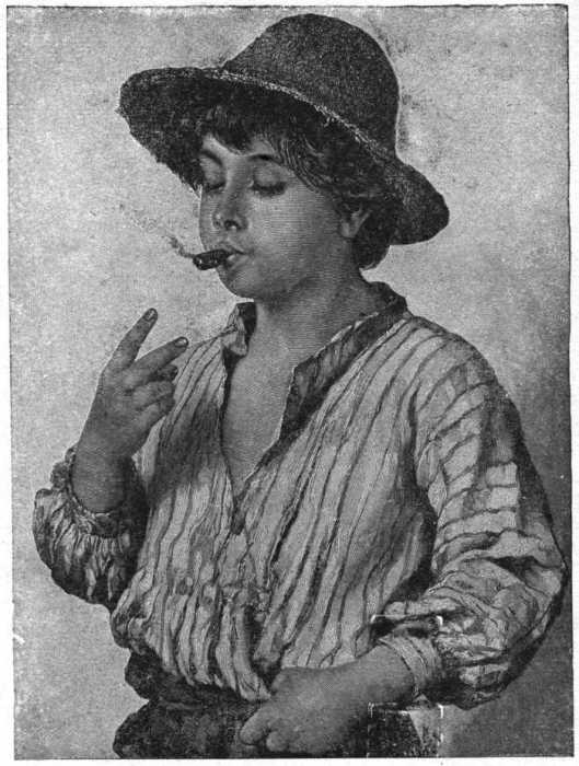 Boy with cigar (black and white print)