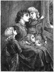 Mother and children watching snow fall