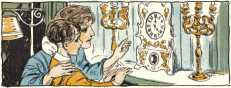 Mother and child looking at clock