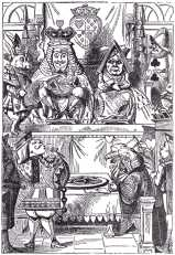 The King and Queen of Hearts were seated on their throne when they arrived, with a great crowd assembled about them...